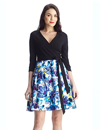 Grapent-Womens-Black-34-Sleeves-A-Line-Blue-Floral-Skater-True-Wrap-Midi-Dress