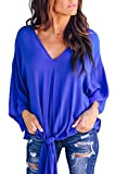 FAFOFA Womens V Neck Blouse Half Flare Sleeve Tie Knot Front Casual Loose Tee Shirt TPS Sapphire Blue M