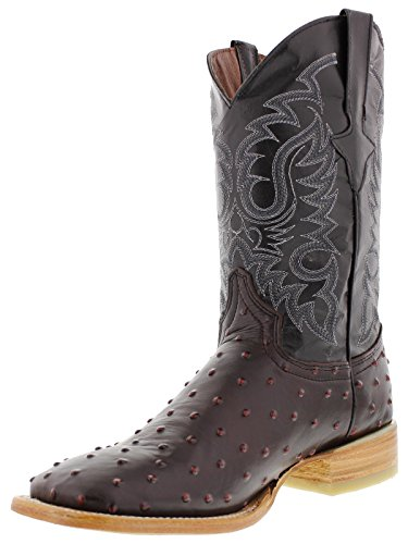 Toe Cherry Cowboy Black Legacy Texas Ostrich Boots Square Leather Men's Quill Design x6zA1