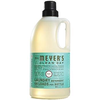 Mrs. Meyer's Clean Day 2x HE Liquid Laundry Detergent, Basil, 64 Ounce Bottle