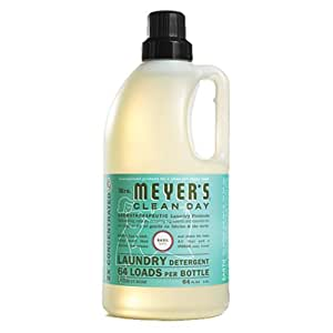 Mrs. Meyer's Clean Day 2x HE Liquid Laundry Detergent, Basil, 64 Ounce Bottle