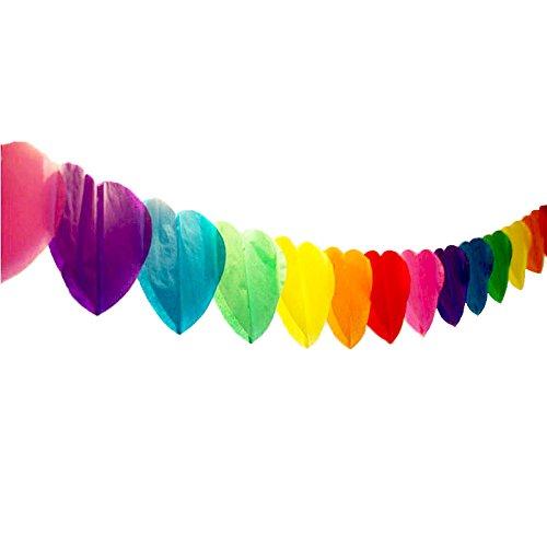 ハート 型 ペーパー ガーランド カラフル 虹色 約3m