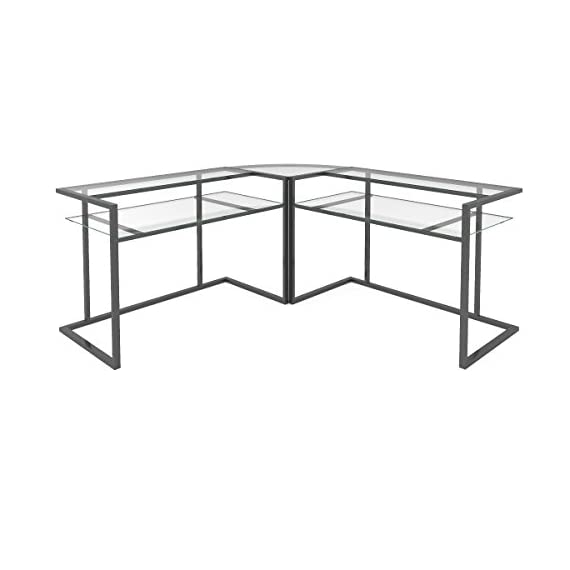 Ryan Rove Belmac Glass Large Modern L-Shaped Desk Corner Computer Office Desk for Small PC Laptop Study Table Workstation Home Office with Keyboard Shelf - Black Frame and Clear Glass - Stylish, contemporary computer desks design. Polished and beveled, tempered safety glass designed to be used as corner desk. Ideal piece for its 33 inch height. Durable L shapped steel frame with a black powder-coat finish. Sliding keyboard tray can be mounted on either side of desk with glass top and Free CPU Stand. Space-saving L-shape design. Universal, autonomous CPU stand included. Custom C-frame with flat metal tubing. Elevated, monitor shelves - writing-desks, living-room-furniture, living-room - 41GJ2y9vNOL. SS570  -