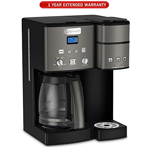 Cuisinart SS-15 12-Cup Coffee Maker and Single-Serve Brewer, Black Stainless with Extended ()