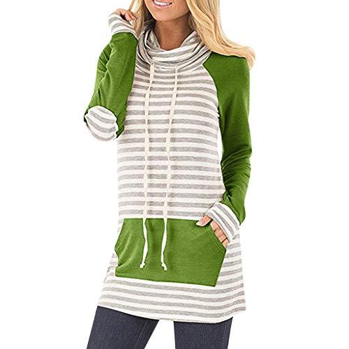 - AOJIAN Blouse Women Long Sleeve T Shirt Cowl Neck Pockets Stripe Elbow Patch Tunic Tank Shirts Tops Green