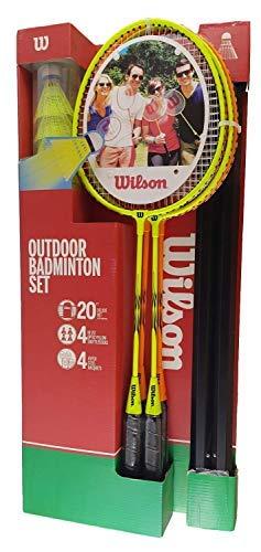 Wilson Sports Outdoor 4 Player Badminton Kit - Net, Shuttlecocks & Racquets