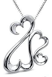Jane Seymour Open Hearts Family Necklace Pendant SS