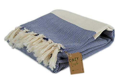"Cozy Herringbone Original | 100% Turkish Cotton Bath Towel (39.5"" x 70"") - Peshtemal Towel for Pool, Gym, Spa, Boho, Bathroom, Turkish Beach Towel, Eco-Friendly (Navy Blue, Beach/Bath Towel Size)"