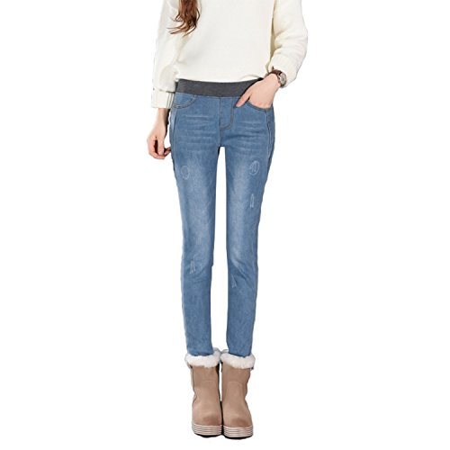 1b65437473d39 high-quality MAYARAYLI Women s Plus Size Fleece Lined Jeans High Waist  Winter Slim Fit Stretch