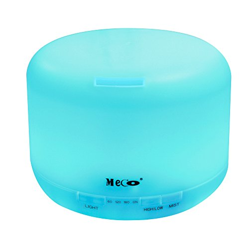 MECO 500ml Essential Oil Diffuser for Aromatherapy Cool Mist Air Humidifier with 7 Color LED Lights Waterless Auto Shut-off Home Deco