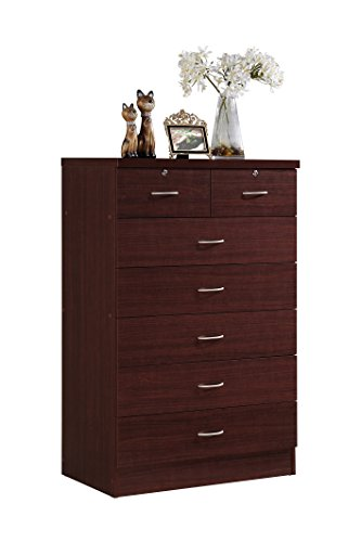 - Hodedah 7 Drawer Chest, Five Large Drawers, Two Smaller Drawers with Two Locks, Mahogany