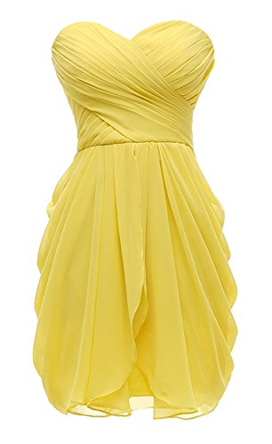(Kiss Dress Women's Strapless Chiffon Short Bridesmaid Dresses Prom Gowns(2XL,Yellow))