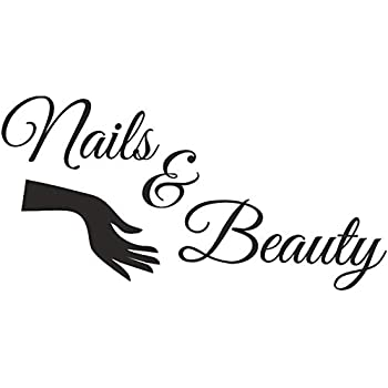 BooDecal Large Bar Collage Salon Decals Nails and Beauty Hair Salon Slogan Varnish Polish Manicure Nail Quotes Wall Decals Letterings Vinyl Stickers Shop Window Decorations 39 inches x 20 inches