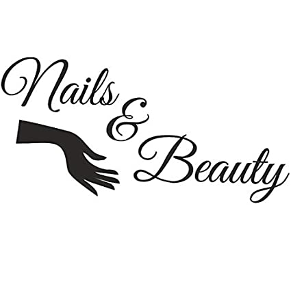 Boodecal Large Bar Collage Salon Decals Nails & Beauty Hair Salon Slogan  Varnish Polish Manicure Nail Quotes Wall Decals Letterings Vinyl Sayings ...