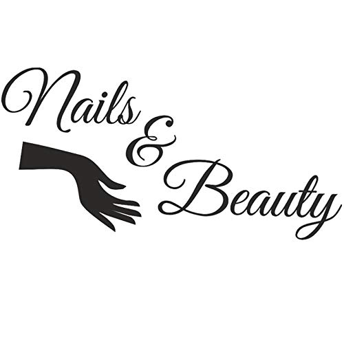 Boodecal Large Bar Collage Salon Decals Nails & Beauty Hair Salon Slogan Varnish Polish Manicure Nail Quotes Wall Decals Letterings Vinyl Sayings Stickers Shop Window Decorations 39 x 20 Inches -