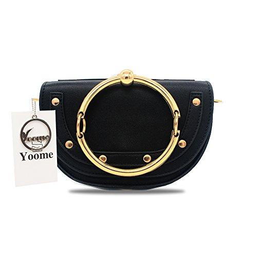 Yoome Women Punk Circular Ring Handle Handbags Small Round Purse Crossbody Bags For Girls - Black (Leather Womens Ring)