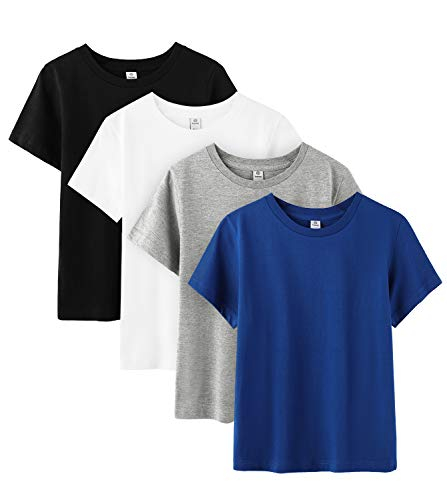 LAPASA Basics - Pack of 4 Pure 100 Non-Allergenic Cotton T-Shirts for Boy & Girl, Short Sleeve (Unisex Tees) K01 (New Multipack (Black, Navy, Grey, White), 4-5 Years Old (Chest 13.4