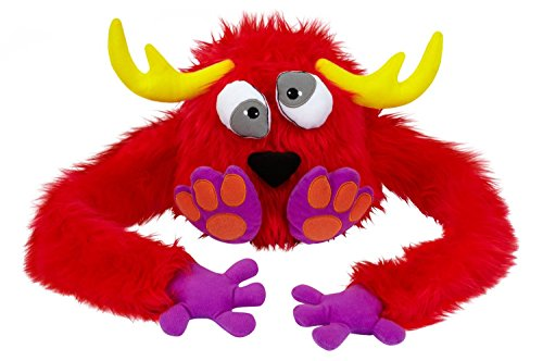 [Hugalopes Fuzzy Hat Puppet Monster RED Dizzy Antlers unisex funny cap] (Red Furry Monster Costume)
