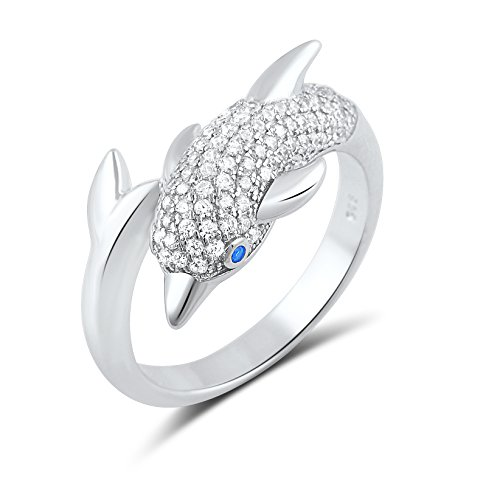 Sterling Silver Cz Dolphin Ring - Size (Wrap Around Dolphin)