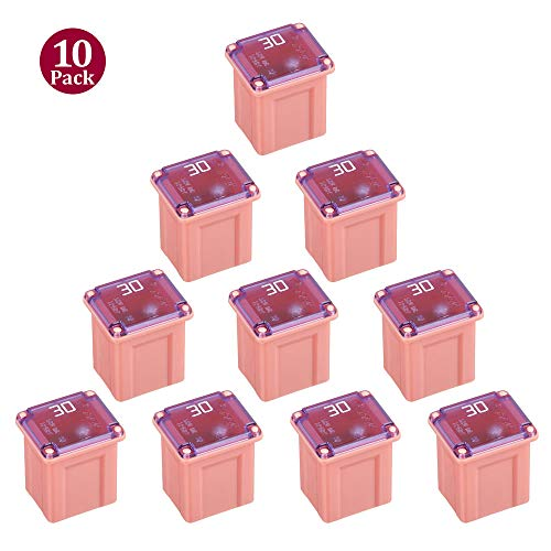10 Pack FMX-30LP 30 Amp Low Profile Female Maxi Fuse 32Vdc Fit for Ford Chevy/GM Nissan and Toyota Pickup Trucks Cars and SUVs 10 Low Profile Fuse