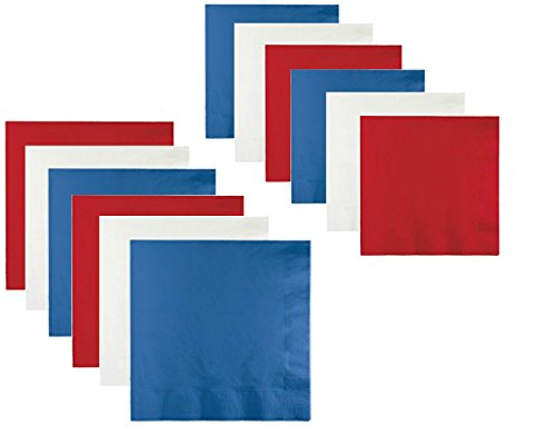 Patriotic American Red White and Blue Party Napkin Bundle for 60 Guests - Includes Lunch and Beverage - Guest Blue Napkins