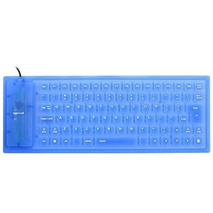 eDealMax plegables Flexibles 85 Llaves USB Con Cable Enrolle teclado de silicona Azul Para el ordenador