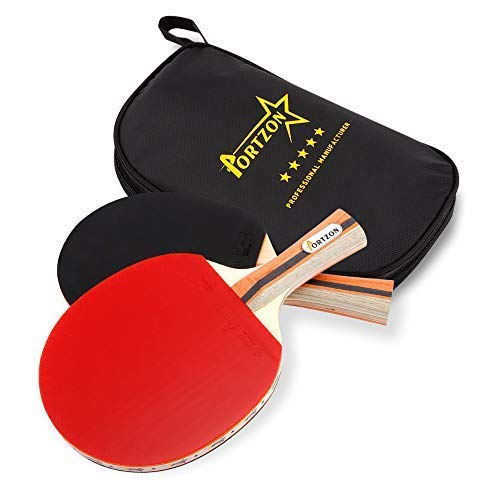 Portzon Ping Pong Paddle Advanced Training Table Tennis Racket,Wooden Blade Surrounded by Rubber for Excellent Balance Spin, Speed Control,2 Pack