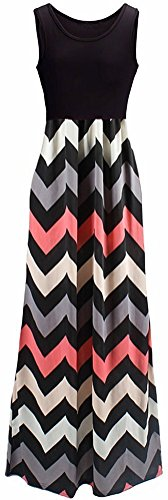 shangke Womens Ladies Striped Zig Zag Scoop Neck Chevron Print Tank Maxi Long Party Dress (XL, Black -