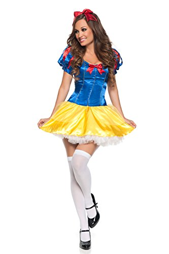 Mystery House Women's Lovely Snow White Costume (BLUE/YELLOW/RED, Size: L (10-12)) -