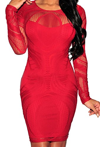 Autumn Lace Hollow Out Slim Party Dresses(Red) - 5