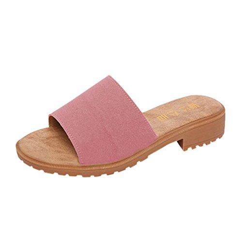 Ansenesna Sandalen Damen Sommer Keilabsatz Offen Elegant Flip Flop Slipper Stoff Strand Outdoor Sommerschuhe Rosa