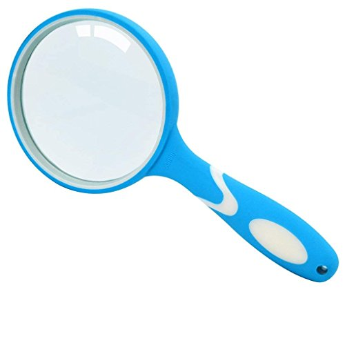 Nydotd 3.5 Inch 10X Optical Quality Handheld Magnifier with Easy Grip Ergonomic Non-slip Rubber Handle for Seniors, Maps, Jewellery, Hobbies by (White & Blue)