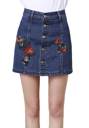 (Forgrace Women's High Waist Button Front A-line Embroidered Denim Short Skirt M Dark Blue)