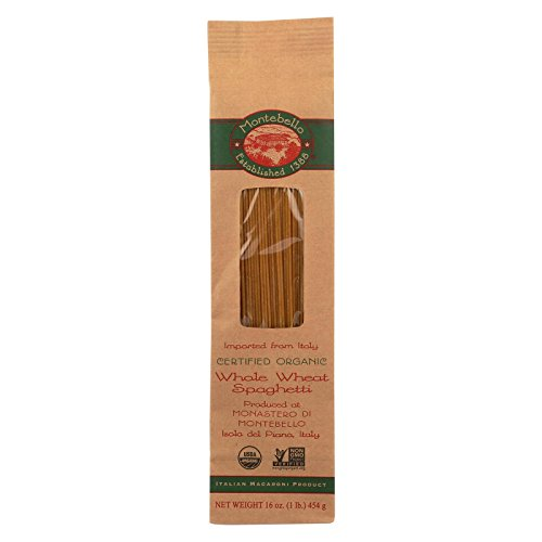 Montebello, Organic Whole Wheat Pasta; Spaghetti, Pack of 12, Size - 1 LB, Quantity - 1 Case