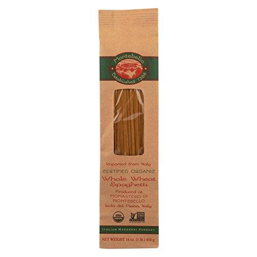 Montebello, Organic Whole Wheat Pasta; Spaghetti, Pack of 12, Size - 1 LB, Quantity - 1 Case (Organic Whole Wheat Spaghetti)