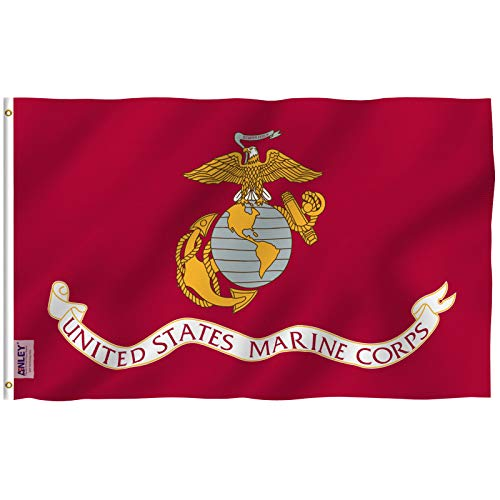 (Anley Fly Breeze 3x5 Foot US Marine Corps Flag - Vivid Color and UV Fade Resistant - Canvas Header and Double Stitched - United States Military Flags Polyester with Brass Grommets 3 X 5 Ft)