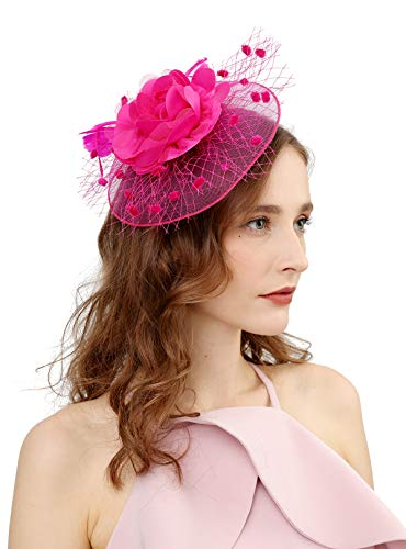 Box Rose Hat - Fascinators Hats for Womens 50s Headwear with Veil Flower Cocktail Wedding Tea Party Church Derby Hat(1A-rose)