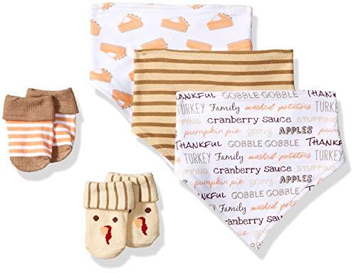 Hudson Baby Baby Bandana Bib & Socks Set, 5 Piece, Pumpkin Pie, 0-9 Months -
