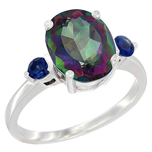 al Mystic Topaz Ring Oval 10x8mm Blue Sapphire Accent, size 6 (14k Mystic Topaz Ring)