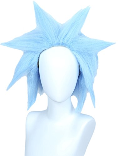 Linfairy Unisex Short Straight Cosplay Blue Wig Halloween Costume Fuzzy Funny Wig