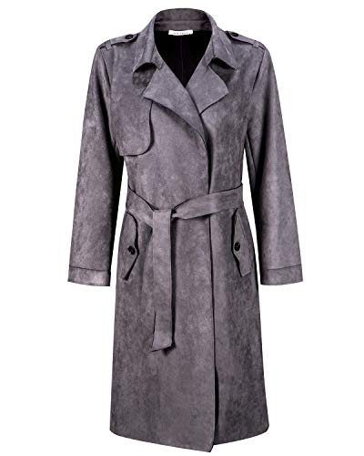 NOBLEMOON Women's Cardigan Outwear Long Sleeve Lapel Trench Coat Suede (X-Large, Grey)