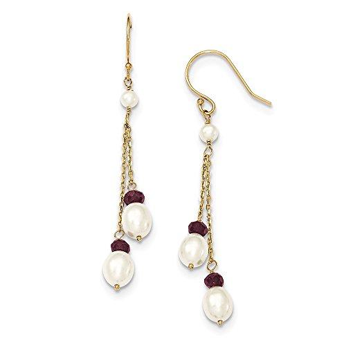 14k Yellow Gold Polished Shepherd hook Freshwater Freshwater Cultured Pearl and Garnet Double Chain Drop Earrings