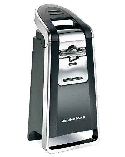 Hamilton Beach (76606ZA) Smooth Touch Electric Automatic Can Opener with Easy Push Down Lever, Opens All Standard-Size and Pop-Top Cans, Black and Chrome (Renewed)