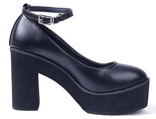 Noir Block Plateforme Chaussures Shoes AgeeMi Femme Bout Rond Sangle Cheville Heel w6PaCPqv
