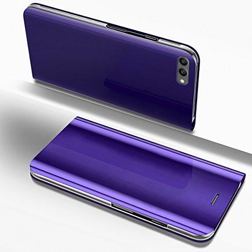 PHEZEN Huawei P10 Lite Case, Luxury Mirror Makeup Case Plating PU Leather Flip Folio Wallet Case [Kickstand Feature] Magnetic Closure Full Cover Case for Huawei P10 Lite (Purple) - Lite Purse