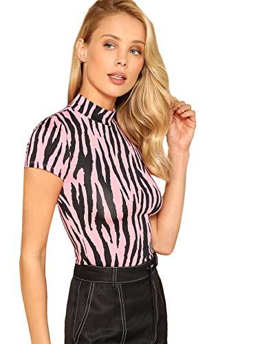 (WDIRARA Women's Casual Zebra Print Top Mock Neck Stretch Fashion Slim Tee Pink M)