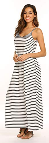 OURS Women's Summer Sleeveless Striped Flowy Casual Long Maxi Dress with -