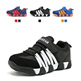 JIAWA Boys Sneakers Casual Strap Lightweight Running Shoes Kids (Black/White 12.5 M US Little Kid)