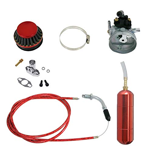 Power Boost Pipe - NORTHTIGER Red Carburetor&Power Boost Bottle&Air Filter Fit 49/60/66/80cc Motorized Bike