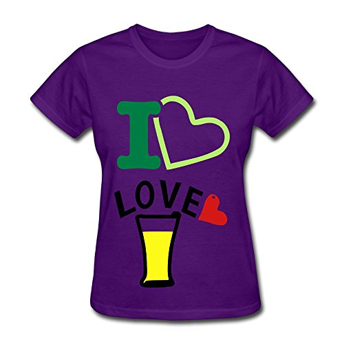 Fengzedid I Love Christmas Women's Short Sleeve Fashion T ShirtSize XL Color Purple (Tutorial Guitar On Songs Christmas)
